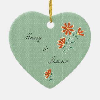 Ornamento floral del boda del batik de Naila Adorno Navideño De Cerámica En Forma De Corazón