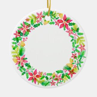 Ornamento floral del círculo de la guirnalda adorno navideño redondo de cerámica