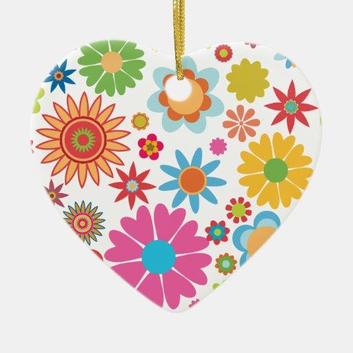 Ornamento floral del corazón adorno navideño de cerámica en forma de corazón