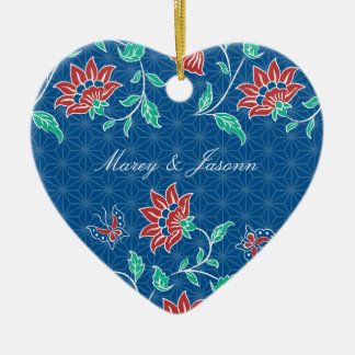 Ornamento floral del corazón del boda del batik de ornamento de reyes magos