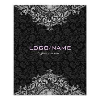 """Ornamento floral elegante del vintage negro y blan folleto 4.5"""" x 5.6"""""""