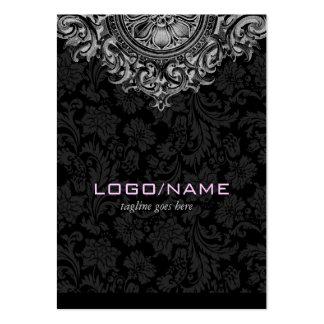 Ornamento floral elegante del vintage negro y tarjetas de visita grandes