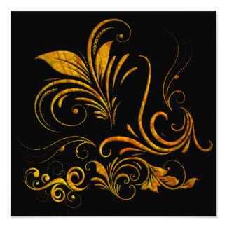 Ornamento floral en oro fotografía