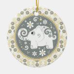 Ornamento floral gris amarillo de lujo del elefant ornamento de reyes magos