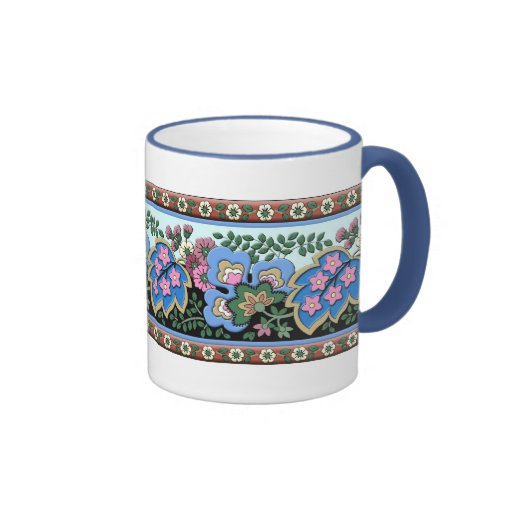 Ornamento floral medieval alemán taza a dos colores