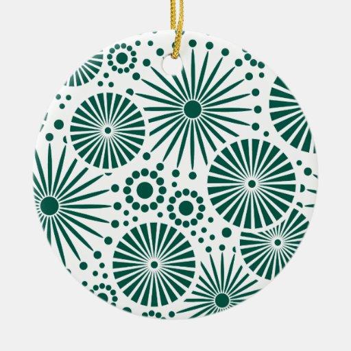 Ornamento floral retro adorno navideño redondo de cerámica