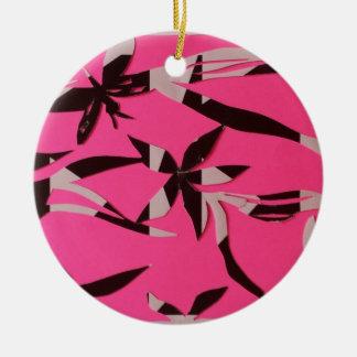 ornamento floral rosado adorno redondo de cerámica
