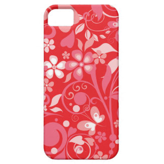 Ornamento floral rosado en rojo iPhone 5 Case-Mate cobertura