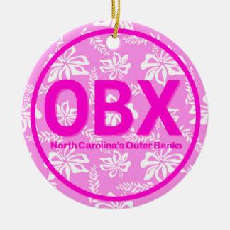 Ornamento floral rosado personalizado de OBX Outer Ornamento De Reyes Magos