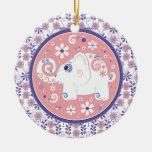 Ornamento floral rosado púrpura de lujo del elefan ornamentos de reyes
