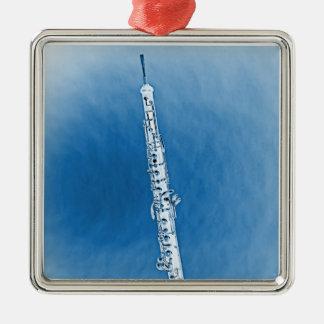 Ornamento formado cuadrado de la imagen de Oboe Adorno Navideño Cuadrado De Metal
