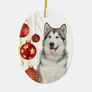 Ornamento fornido del navidad adorno navideño ovalado de cerámica