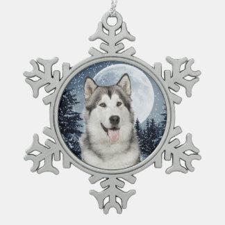 Ornamento fornido del navidad de la luna del adorno de peltre en forma de copo de nieve