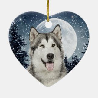 Ornamento fornido del navidad de la luna del adorno navideño de cerámica en forma de corazón
