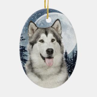 Ornamento fornido del navidad de la luna del adorno navideño ovalado de cerámica