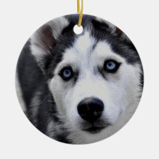 Ornamento fornido del perrito adorno redondo de cerámica