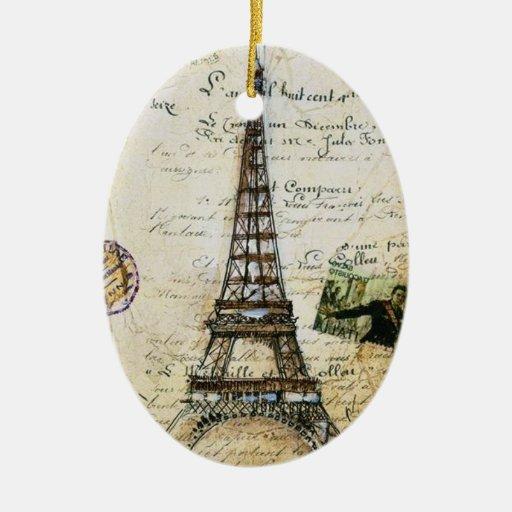 Ornamento francés de París del AMORÍO del vintage Adorno Navideño Ovalado De Cerámica