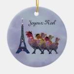 Ornamento francés de tres gallinas adorno de navidad