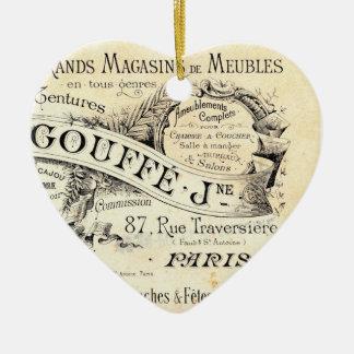 Ornamento francés elegante lamentable del corazón adorno navideño de cerámica en forma de corazón