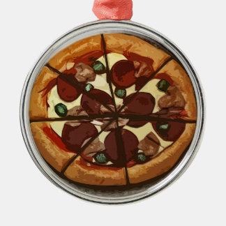 Ornamento fresco de la pizzería de la pizza adorno navideño redondo de metal