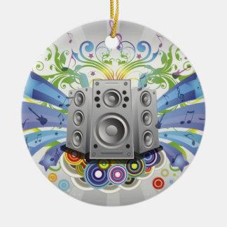 Ornamento fresco del navidad de la música adorno navideño redondo de cerámica