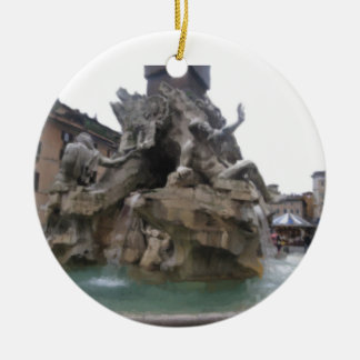 Ornamento - fuente de los cuatro ríos adorno redondo de cerámica
