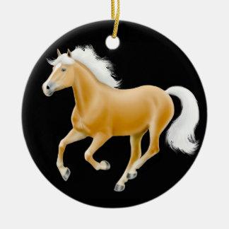 Ornamento galopante del caballo de Haflinger Adorno Navideño Redondo De Cerámica
