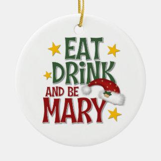 Ornamento gay divertido del navidad adorno navideño redondo de cerámica