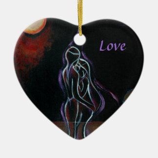 Ornamento gemelo de las llamas: Amor Adorno Navideño De Cerámica En Forma De Corazón