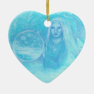 Ornamento gemelo del navidad de los bebés del adorno navideño de cerámica en forma de corazón