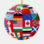 Ornamento global del recuerdo de las banderas adorno redondo de cerámica