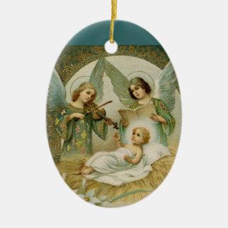 Ornamento: Gloria en Excelsis Deo Adorno Ovalado De Cerámica