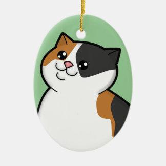 Ornamento gordo feliz del recuerdo del gato de adorno navideño ovalado de cerámica