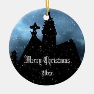 Ornamento gótico del navidad de la cripta a adorno navideño redondo de cerámica