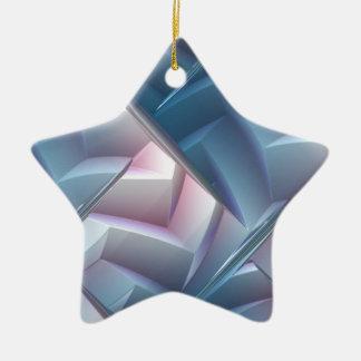 Ornamento grabado en relieve azul de la estrella adornos