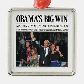 Ornamento grande del navidad del triunfo de Obama Adorno Navideño Cuadrado De Metal