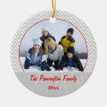 Ornamento gris de la foto del navidad del zigzag ornamentos para reyes magos