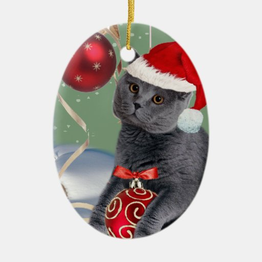 Ornamento gris del navidad del gato ornamentos de reyes