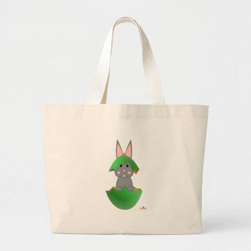 Ornamento gris del navidad del verde del conejito bolsa tela grande
