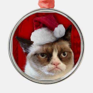 Ornamento gruñón del navidad del gato adorno navideño redondo de metal