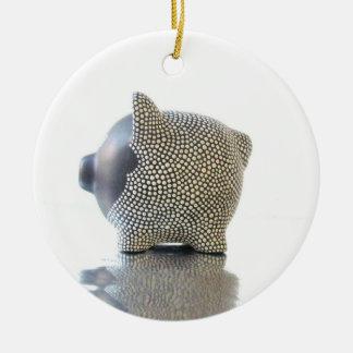 Ornamento guarro blanco y negro adorno navideño redondo de cerámica
