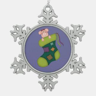Ornamento guarro de la media adorno de peltre en forma de copo de nieve