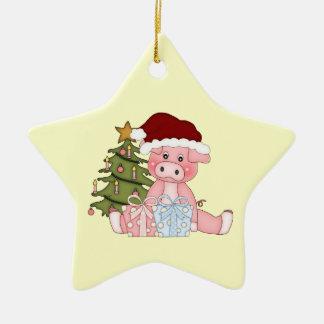 Ornamento guarro del árbol de navidad adorno navideño de cerámica en forma de estrella
