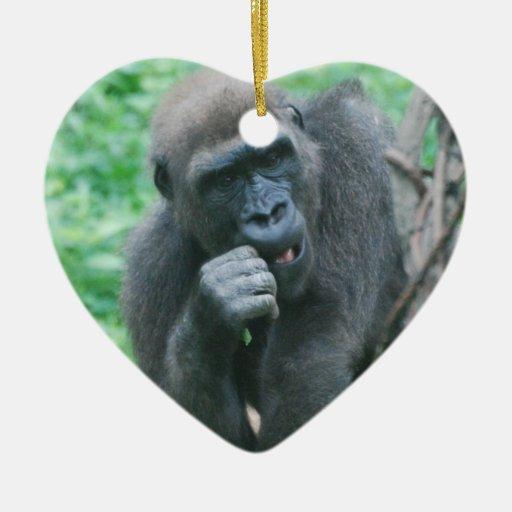 Ornamento hambriento del gorila ornamentos de navidad