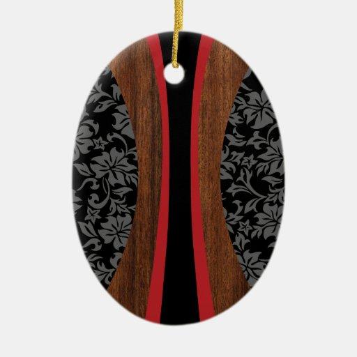 Ornamento hawaiano de la tabla hawaiana de adorno navideño ovalado de cerámica