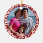 Ornamento hawaiano rojo de la foto del navidad del ornamento de reyes magos