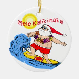 Ornamento hawaiano tropical del navidad de Santa Adorno Navideño Redondo De Cerámica
