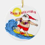 Ornamento hawaiano tropical del navidad de Santa q Ornato