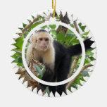 Ornamento hecho frente blanco del mono del capuchó adorno de navidad