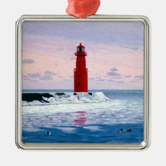 Ornamento helado del faro de las aguas adorno cuadrado plateado